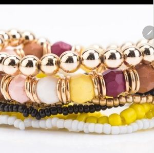 7 Layered Yellow Bracelets